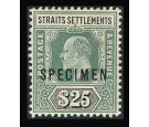 SG139s. 1906 $25 Grey-green and black. 'Specimen'. Superb well c